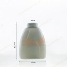 Chai nhựa pet trong trắng sứ 300ml dáng dẹt