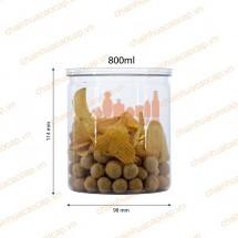 Hũ nhựa đựng thực phẩm nắp nhôm xé 800ml lùn